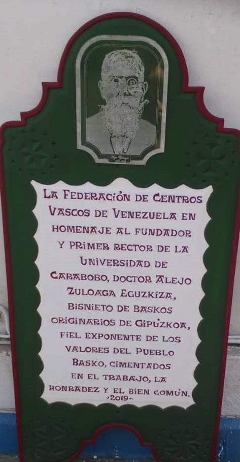 Placa en honor a Don Alejo Zuloaga